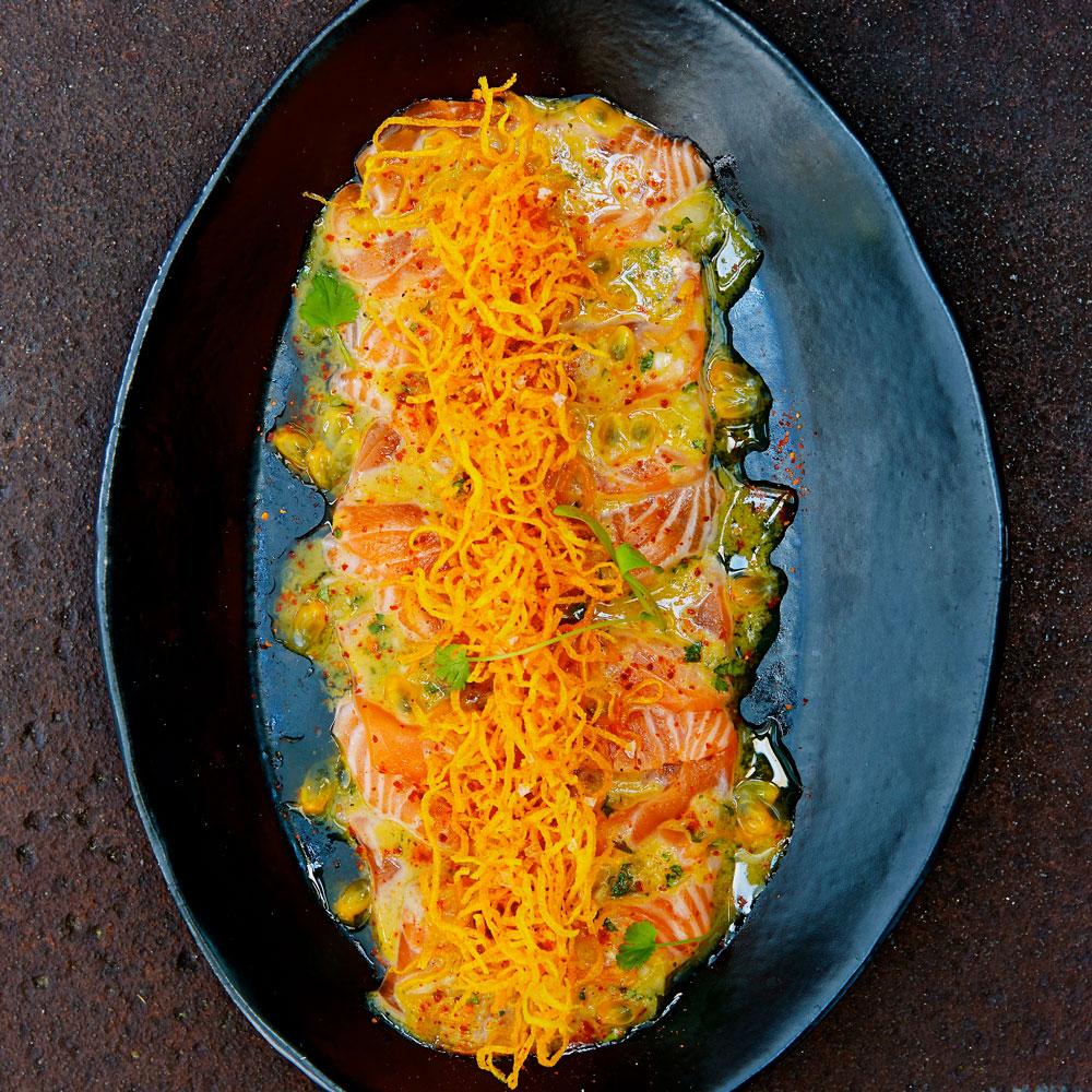 Salmon and Passion Fruit Tiradito,Crispy Sweet Potato & Espelette Pepper